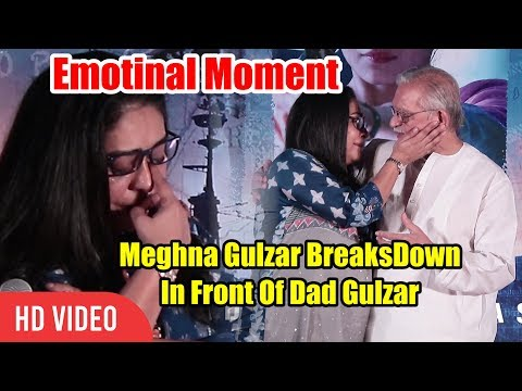 Meghna Gulzar Emotional Moment  Meghna CRYING In Front Of Father Gulzar  RAAZI Movie Success Party