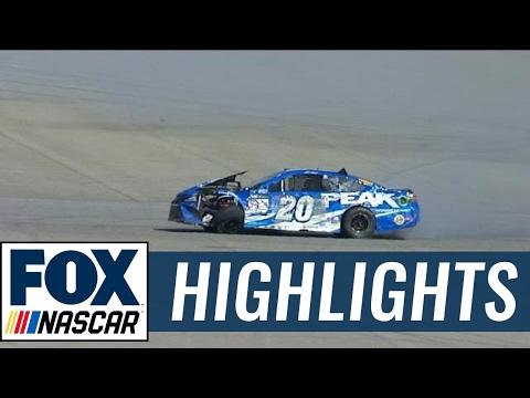 Matt Kenseth Hits the Inside Wall Hard | 2017 FONTANA | FOX NASCAR
