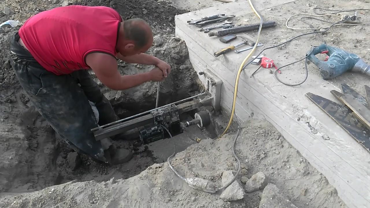 Алмазное сверления в фундаменте, закладная под канализацию.