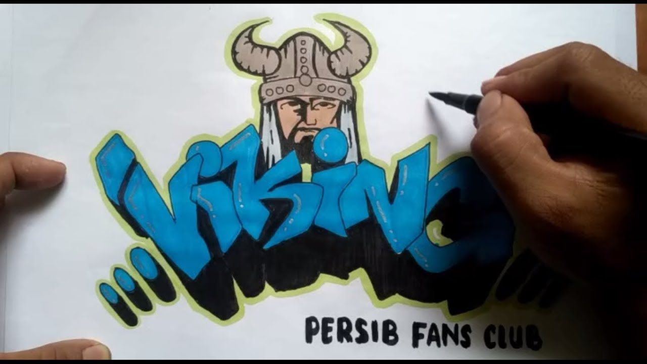 Membuat graffiti viking persib fans club