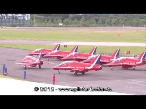 RAF Red Arrows aerobatic display team full flight display at Farnborough Airshow 2012 1080 HD