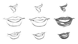 lips draw step comic female drawing mouth nose manga books