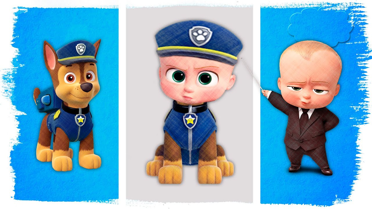The Boss Baby as Paw Patrol Chase | Fun Coloring Book Videos For Kids