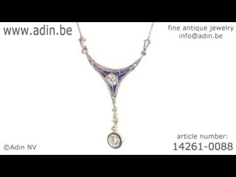 Art Deco Belle Epoque pendant big brilliants and sapphires. (Adin reference: 14261-0088)