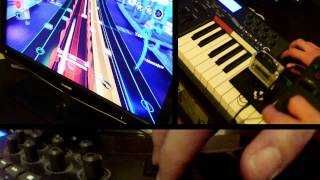 Rock Band Blitz - Real instrument used! (the drumpads on the Axiom-25 keyboard count, right?)