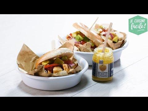 recette-facile-de-bagel-à-l'avocat,-poulet,-moutarde