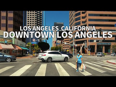 LOS ANGELES - Driving Downtown Los Angeles (Grand Ave, Figueroa Street), California, USA -2.7K QHD