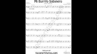 Mi Burrito Sabanero Video Partitura de Trombón Tuba Chelo Fagot Bombardino... en Clave de Fa