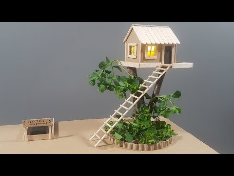 DIY | How To Make A Cardboard Miniature Tree House With Lights