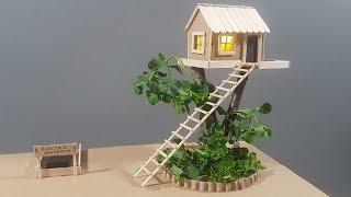 DIY | How To Make A Cardboard Miniature Tree House With Lights