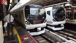 E257系 M-107+M-201編成 新宿駅到着~発車 '18.05.23