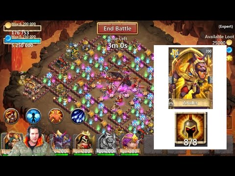ANUBIS 8/ 8 Wargod INSANLY OverPOWERED! Dungeons OWNED Castle Clash