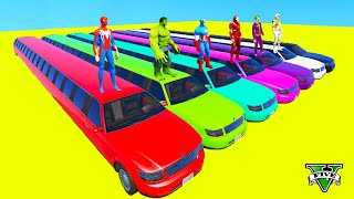 HomemAranha Parkour com Limusines Tratores Motos Ônibus Carros na pista de obstáculos  Gta #8