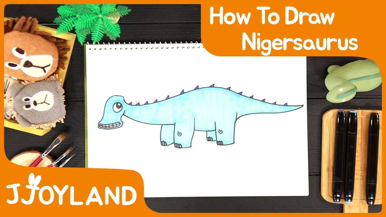 Drawing and Coloring Dinosaur   How to Draw Nigersaurus   Hiphop Style Dinosaurs Kids song