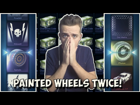 PAINTED WHEELS IN A CRATE TWICE! | Lucky Rocket League 60 Crate Opening + Import Trade Ups!