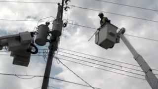 Loud explosion blown fuse transformer bank Chamberlain SD