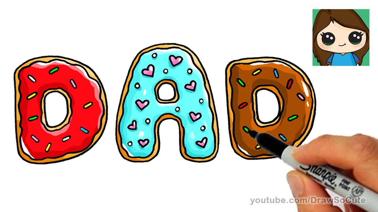 How to Draw Donuts for Dad Easy - YouTube
