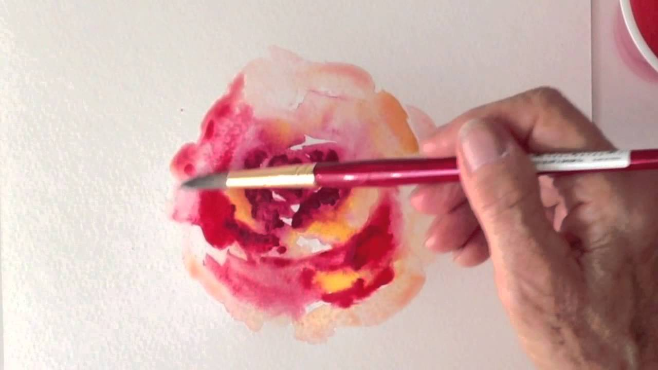 Red rose watercolor tutorial how to paint fast and easy for How to paint a rose in watercolor step by step