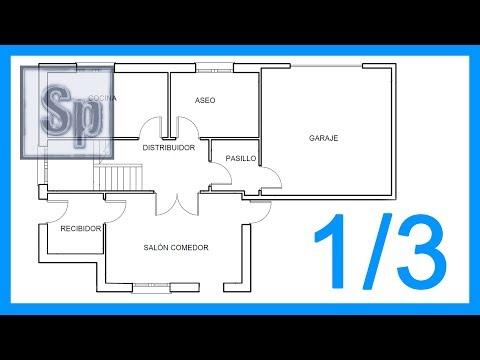 Autocad - 1/3 Dibujar el plano de una casa paso a paso en Autocad. Tutorial en español HD