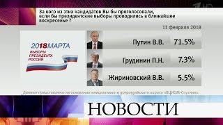 Рейтинги кандидатов в президенты обнародовал Всероссийский центр изучения общественного мнения.