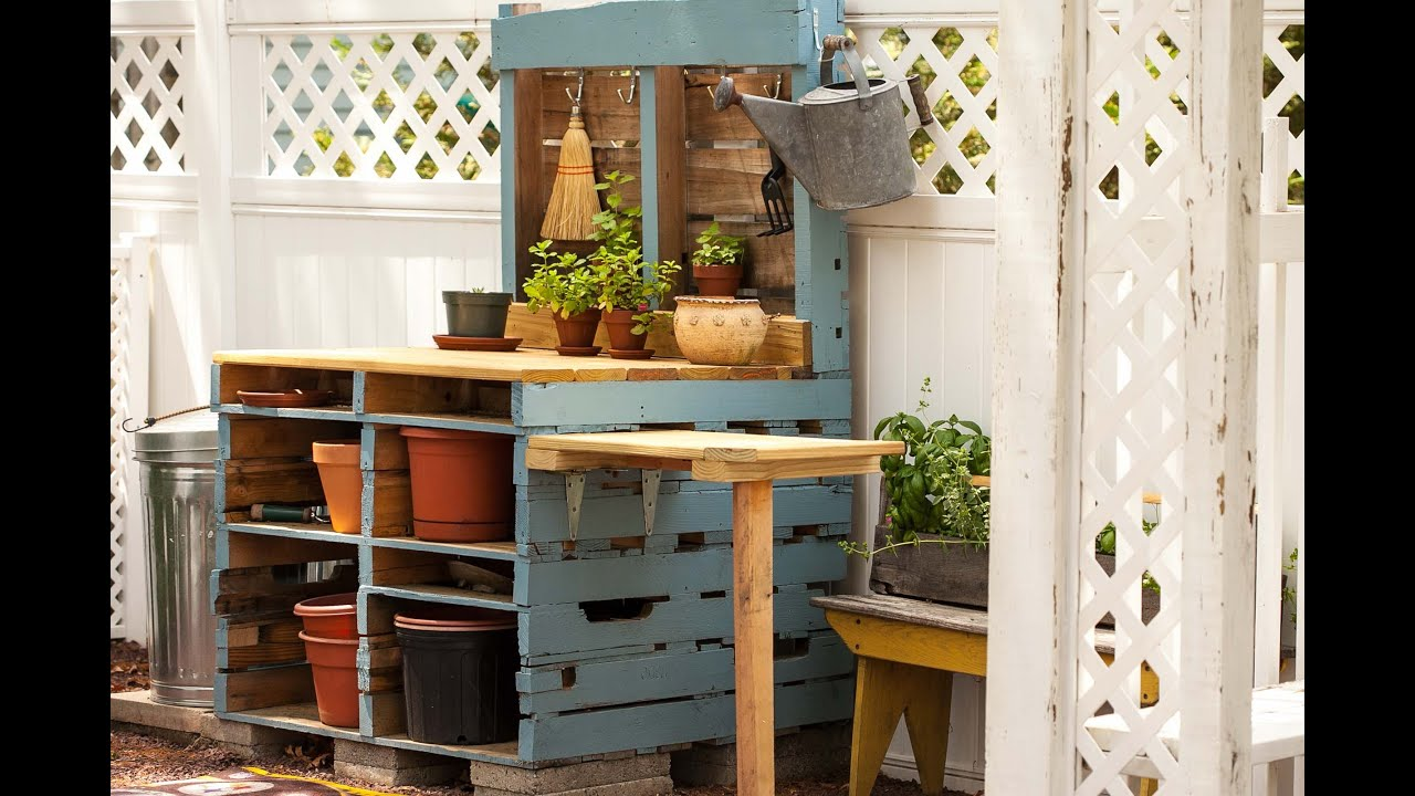 Pallet Potting Bench Youtube