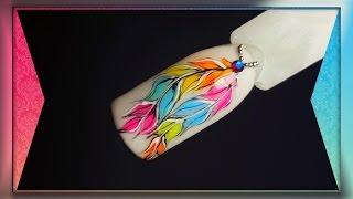 Рисуем яркие перья.