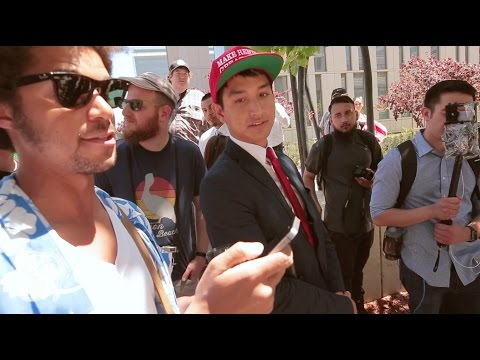 Filipino immigrant Trump Supporter Debates Anti- Trump Protester Mayday Los Angeles