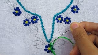 Hand embroidery,Neck line design tutorial 2