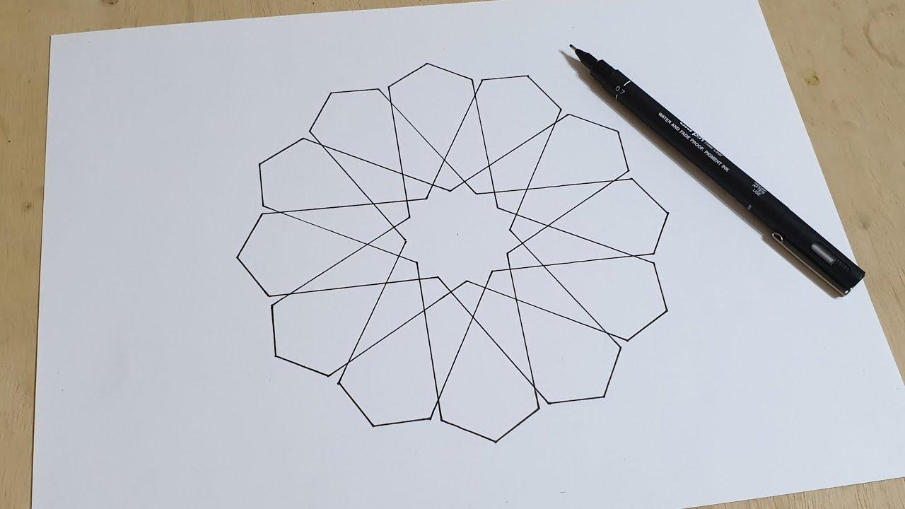 19 Normal Speed How To Draw An Islamic Geometric Pattern زخارف اسلامية هندسية Youtube