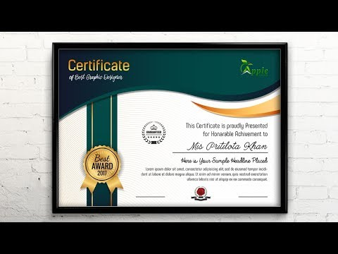 Certificate Template Design - Photoshop CC Tutorial -