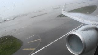 Full Throttle HD 757 Takeoff Through an Intense Miami Rainstorm!!!