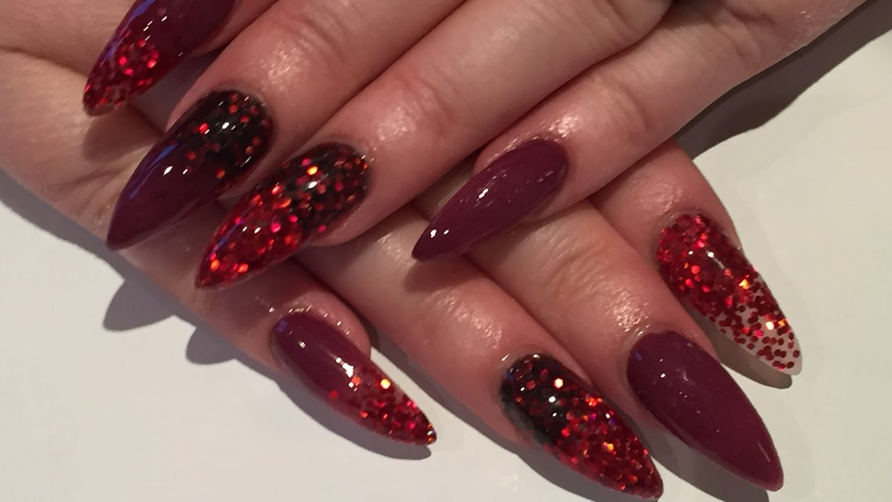 acrylic nails how to - red glitter and black powder - youtube