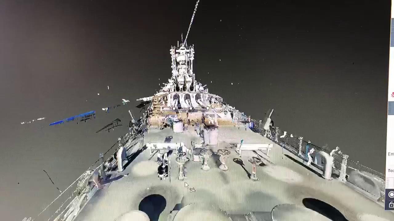 Scanning of the USS Iowa at the Battleship Iowa Museum in Los Angeles,  California