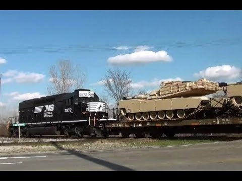 NS 3572 with fresh M1A2 Abrams Tanks CSX q559 with Slug set and setting out a bad order at Deshler