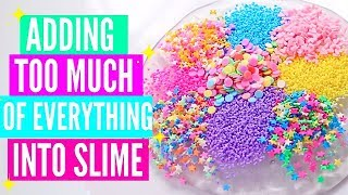 ADDING TOO MUCH INGREDIENTS INTO SLIME + GIVEAWAY! Adding Too Much Of Everything Into SLIME! thumbnail