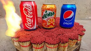 EXPERIMENT COCA COLA,PEPSI Can VS 20000 MATCHES – The Most Satisfying Video – Amazing Crazy Experime