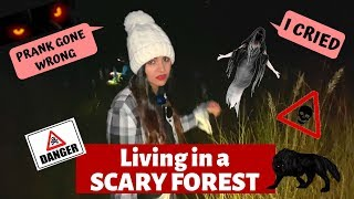 Living 24 HOURS in FOREST *Prank gone wrong*