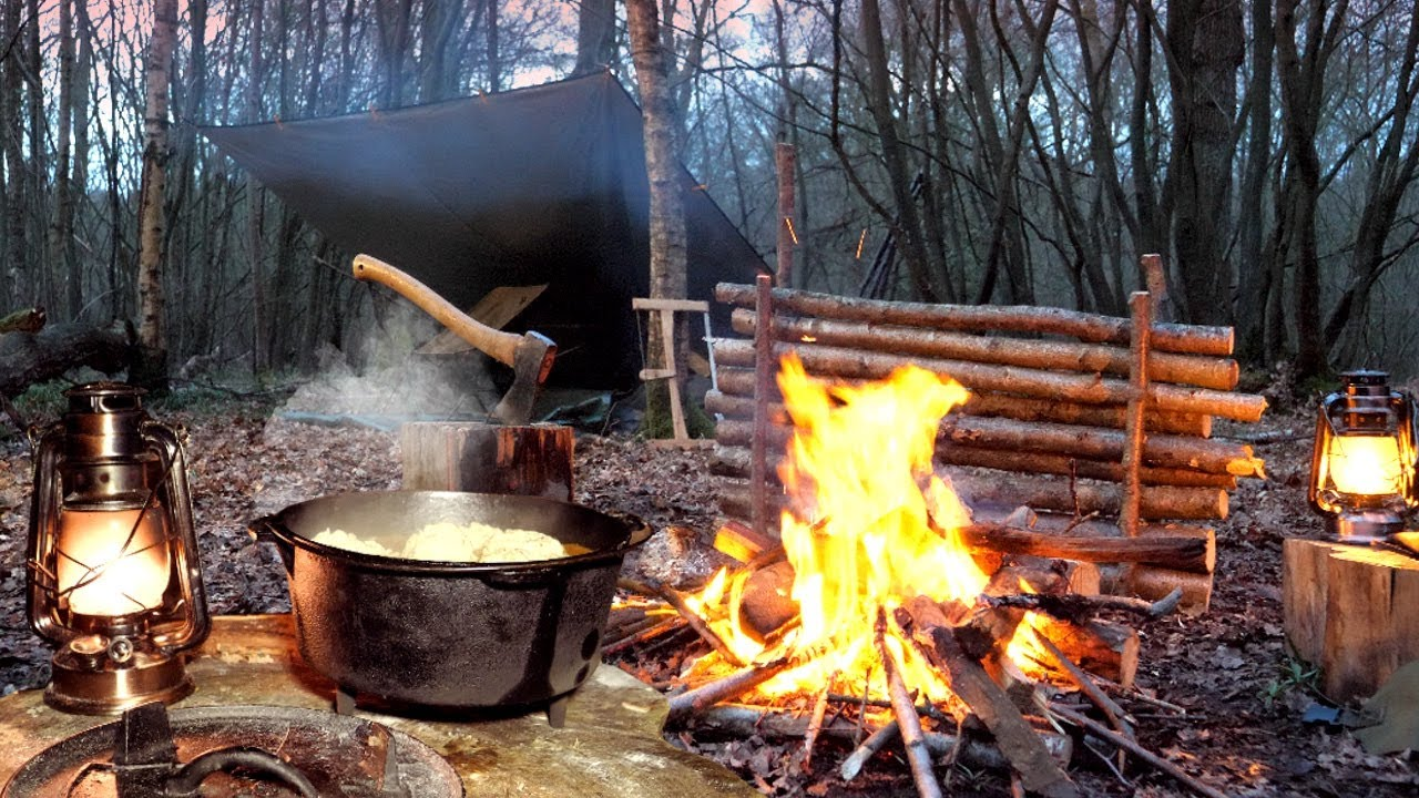 Tarp & Bivvy Woodland Camp with Campfire Stew, S'more & English Breakfast