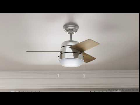Hunter 59303 36 in. Aker Brushed Nickel Ceiling Fan with Light