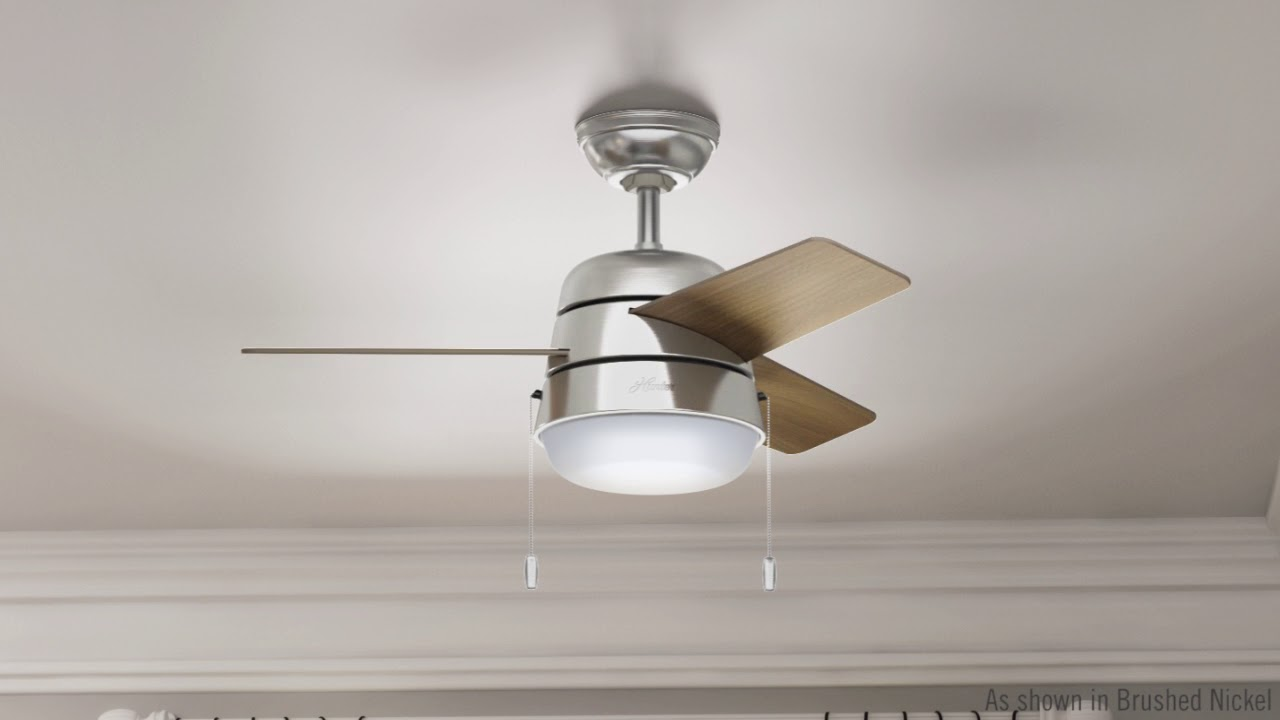 Hunter 59303 36 In Aker Brushed Nickel Ceiling Fan With Light