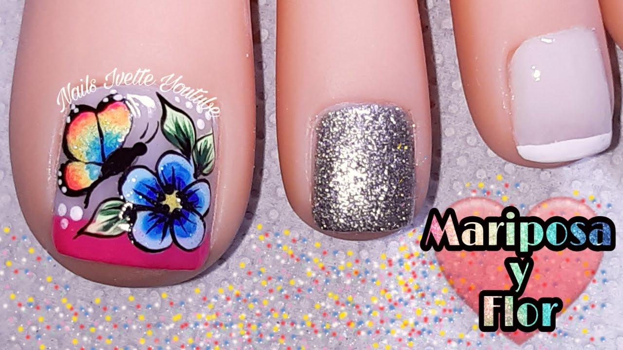 Diseño De Pie Flor Y Mariposa En Colores Alegresuñas Decoradas Para Pie Mariposa Y Flor