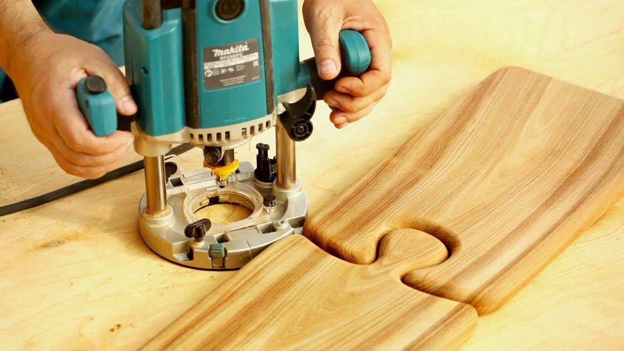 Фрезерование разделочной доски пазл, milling of cutting board puzzle