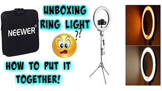 How to put NEEWER DIMMABLE 18'' RING LIGHT together- step by step | Life With Lo