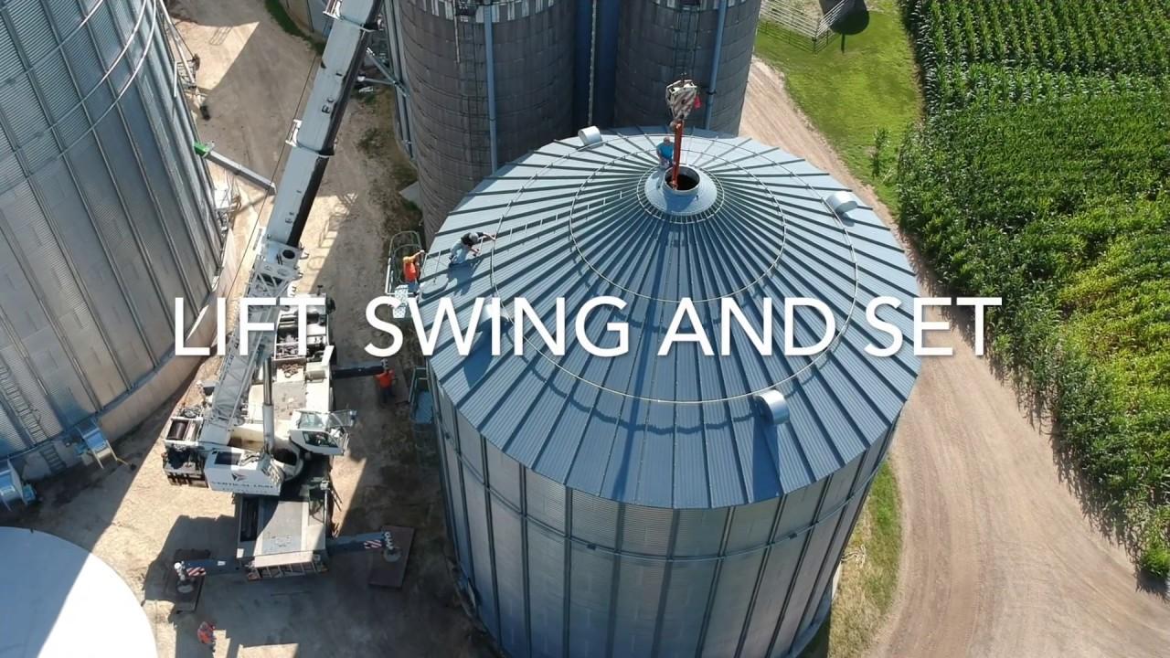 Large 75,000 bu Sukup Grain Bin Crane lift and Swing onto a new Foundation