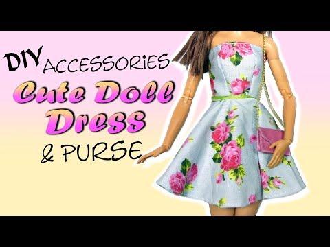 How To Cute Miniature Doll/Barbie Dress & Purse Tutorial / DIY Doll Accessories