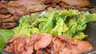 오리고기 + 상추 + 쌀밥 + 사이다 먹방 맛표현 ;;…