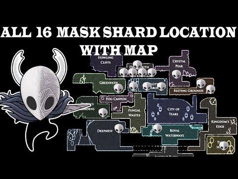 Hidden Mask shard , All 16 location with map , hollow knight godmaster