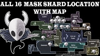 Mask shard , All 16 location with map , hollow knight godmaster