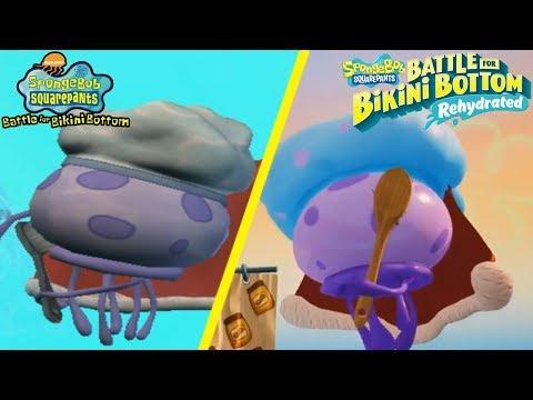 Spongebob Battle For Bikini Bottom Rehydrated - King Jellyfish Boss Battle COMPARISON