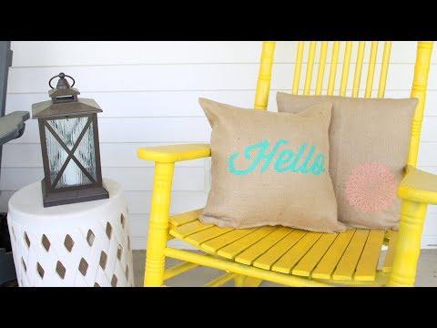 How to Stencil Burlap Pillows